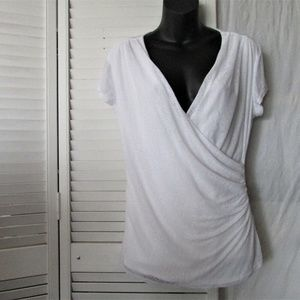 Laundry white side ruched top medium